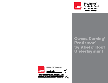 Proarmor 174 Synthetic Roof Underlayment Owens Corning Roofing