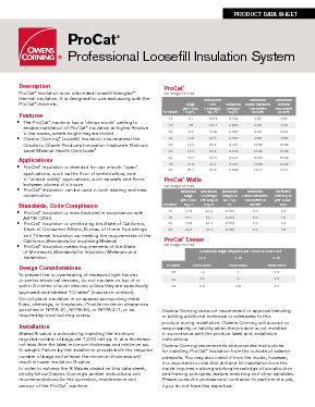 Procat 174 Professional Loosefill Insulation System Owens