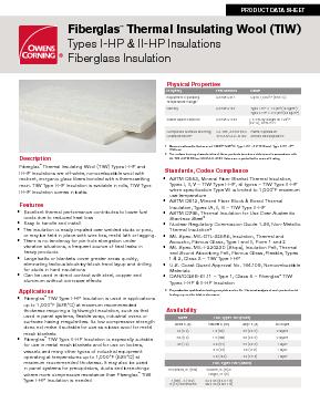 Fiberglas™ Thermal Insulating Wool (TIW) - Owens Corning