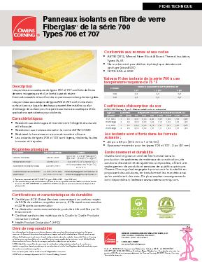 Type 706 & Type 707 Series Fiberglas™ Insulation - Owens
