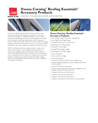 cover image of OWENS CORNING LEED ROOFING ESSENTIAL ACCESSORY