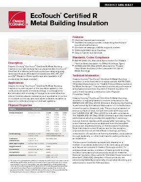 Ecotouch 174 Certified R Metal Building Insulation Owens