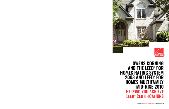 cover image of Owens Corning LEED for Homes Brochure