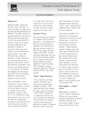 cover image of Moisture Control Perform Kraft-Asphalt Facing Technical Bulletin