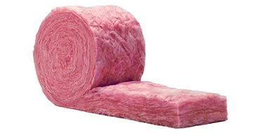 Rolled pink fiberglas insulation