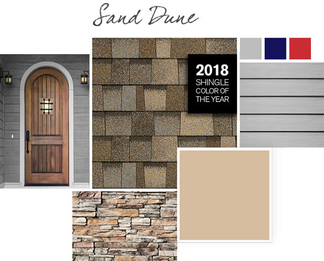 Sand Dune light brown shingles paired with Kombucha khaki light brown color roof styles