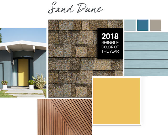 Sand Dune light brown shingles paired with Overjoy yellow color roof styles