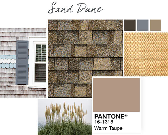 Sand Dune light brown shingle Style Boards show a collage of images pairing the this shingle with a color, like the Warm Taupe light brown shown here.
