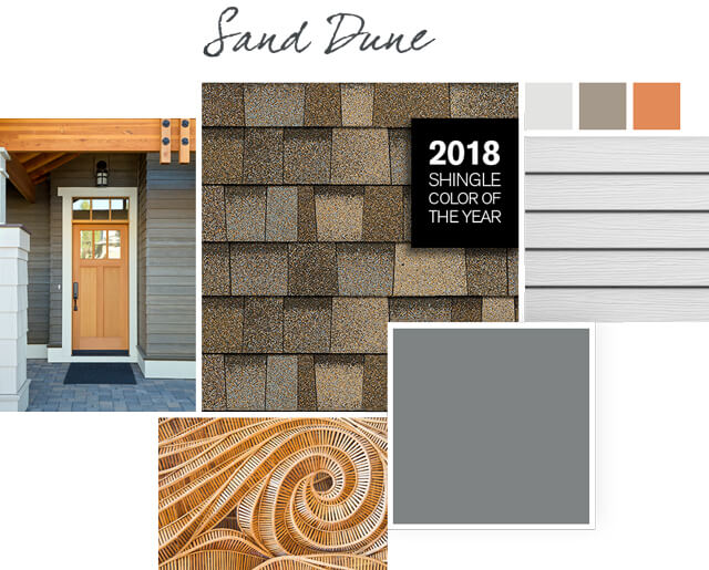 Sand Dune light brown shingles paired with Whale Gray color roof styles